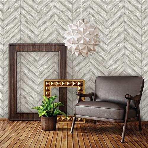 Herringbone Textured Industrial Loft Ash Removable Wallpaper | Kathy Kuo Home
