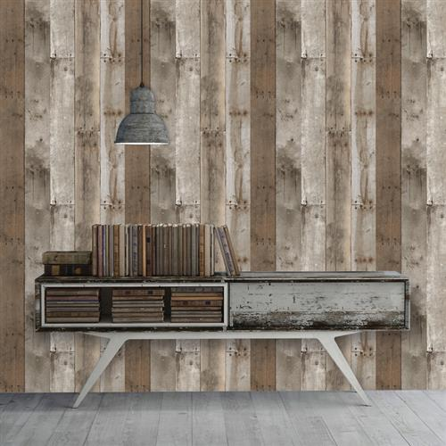Reclaimed Wood Industrial Loft Weathered Removable Wallpaper | Kathy Kuo Home