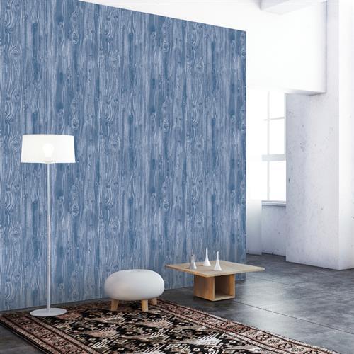 Woodgrain Textured Industrial Loft Indigo Removable Wallpaper
