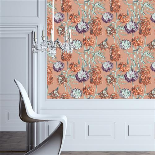 Hydrangea Modern Classic Saffron Removable Wallpaper | Kathy Kuo Home