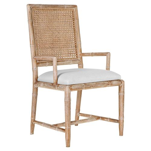 Armande French Country Rustic Caned Bamboo Armchair | Kathy Kuo Home