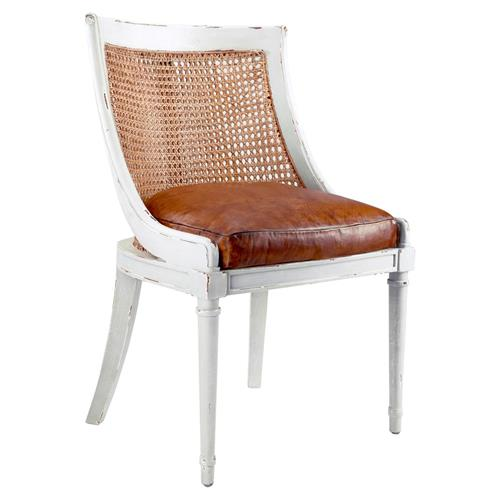 Bettine French Country Antique Leather Rustic White Armchair | Kathy Kuo Home