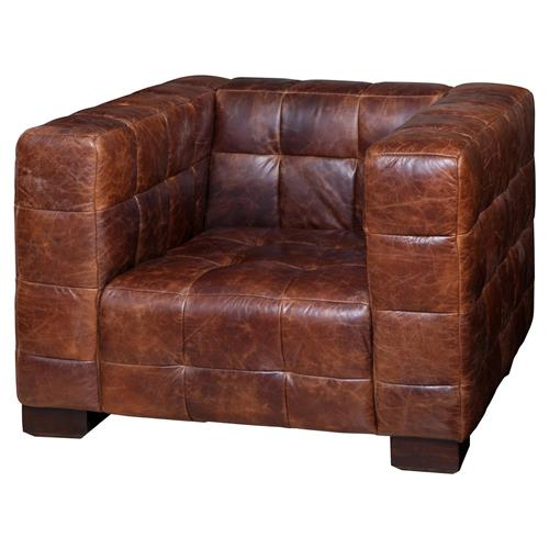 Arthur Rustic Lodge Tufted Leather Cube Accent Club Chair | Kathy Kuo Home