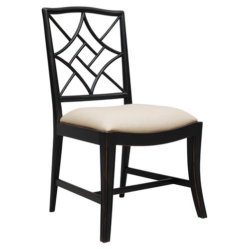 Lombard Hollywood Regency Black Rustic Dining Chair | Kathy Kuo Home