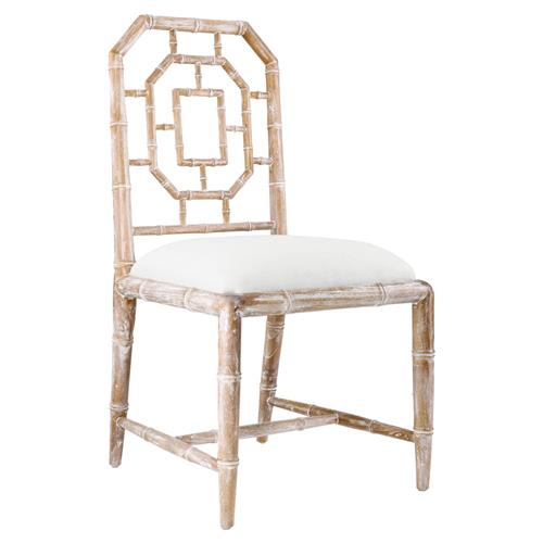 Tierney Hollywood Regency Bamboo Fret Beige Dining Chair | Kathy Kuo Home