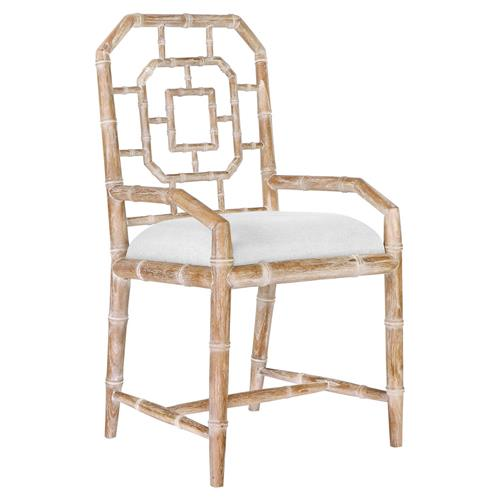 Tierney Hollywood Regency Bamboo Fret Beige Armchair | Kathy Kuo Home