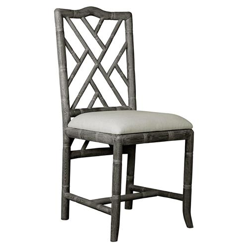 Crain Hollywood Regency Grey Bamboo Fret Oak Dining Chair | Kathy Kuo Home
