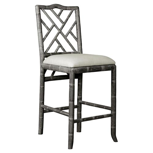 Crain Hollywood Regency Grey Bamboo Fret Oak Counter Stool | Kathy Kuo Home