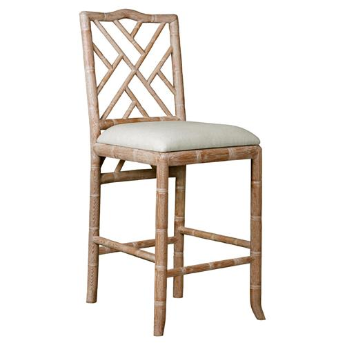 Crain Hollywood Regency Beige Bamboo Fret Oak Counter Stool | Kathy Kuo Home