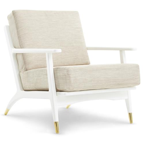 Les Mid Century Beige Brass Cap White Lounge Chair | Kathy Kuo Home