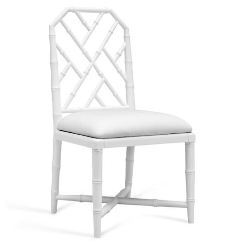 Fontaine Hollywood Regency White Bamboo Dining Chair | Kathy Kuo Home