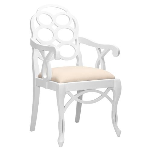 Norma Regency White Lacquer Looped Arm Chair | Kathy Kuo Home