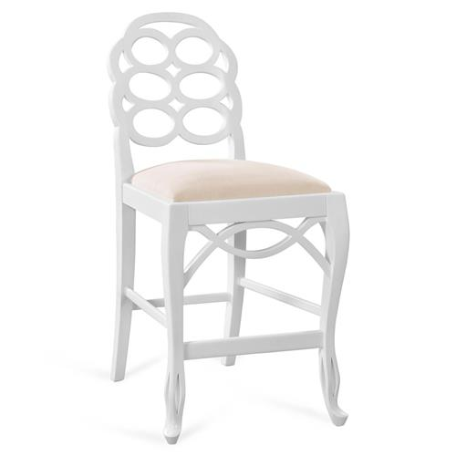 Norma Regency White Lacquer Looped Counter Stool | Kathy Kuo Home