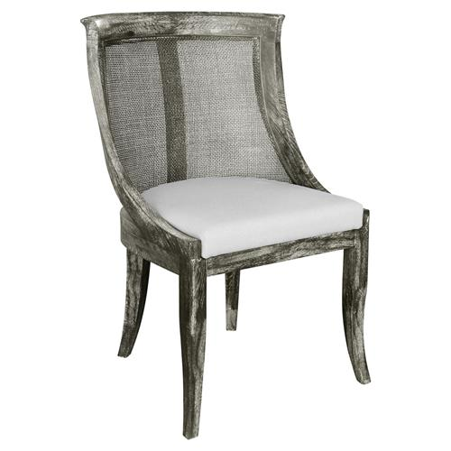 Morel French Country Limed Grey Curved Cane Side Chair | Kathy Kuo Home