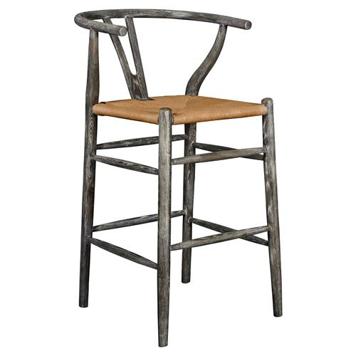 Cable Mid Century Scandinavian Limed Grey Rope Counter Stool | Kathy Kuo Home
