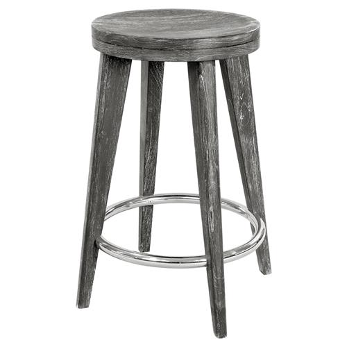 Gerhard Modern Classic Limed Grey Wood Counter Stool | Kathy Kuo Home