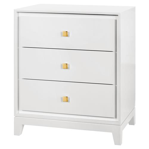Bungalow 5 Bergamo Modern Classic Gold White Lacquered Nightstand | Kathy Kuo Home