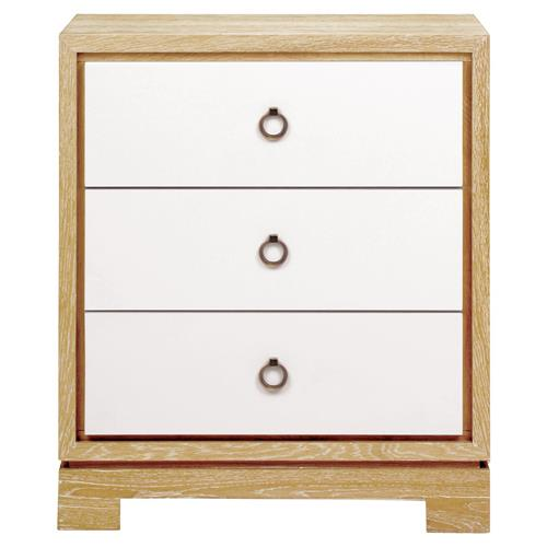 Samuel Modern Bronze White Lacquer Limed Birch Nightstand | Kathy Kuo Home