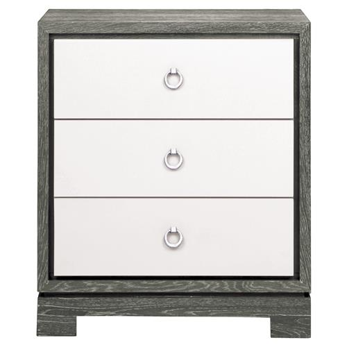 Samuel Modern Silver Grey Lacquer Limed Birch Nightstand | Kathy Kuo Home