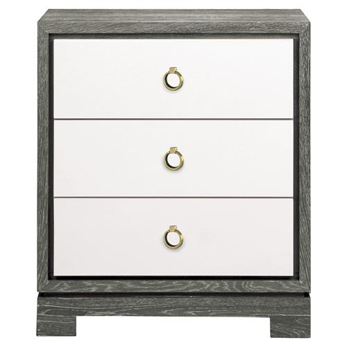 Samuel Modern Bronze Grey Lacquer Limed Birch Nightstand | Kathy Kuo Home