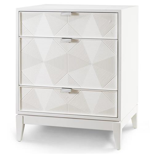 Hal Modern Classic Grooved Geometric White Nightstand | Kathy Kuo Home