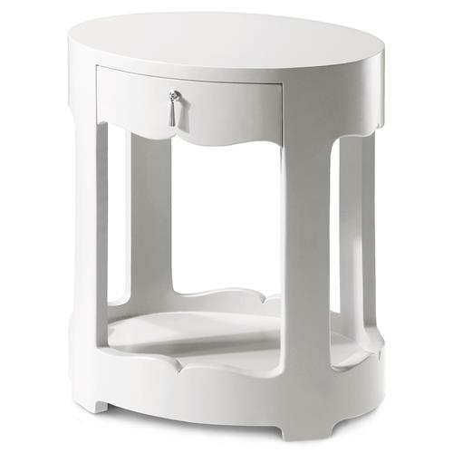 Bungalow 5 Brigitte Modern Classic Silver White Lacquer Oval Nightstand | Kathy Kuo Home