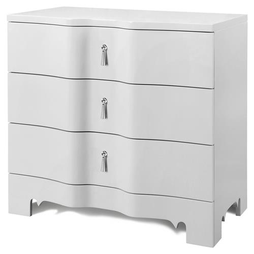 Lorna Modern Classic Silver White Lacquer 3 Drawer Nightstand | Kathy Kuo Home