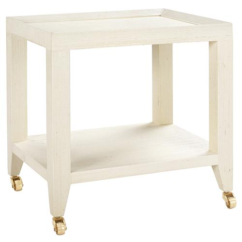 Delen Modern Classic Ivory Grasscloth Rolling Tea Table | Kathy Kuo Home