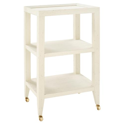 Bungalow 5 Isadora Modern Classic Ivory Grass Cloth Tiered Rolling Side Table | Kathy Kuo Home