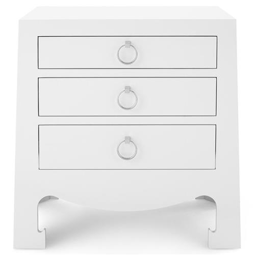 Una Hollywood Regency Silver White Lacquer Nightstand | Kathy Kuo Home