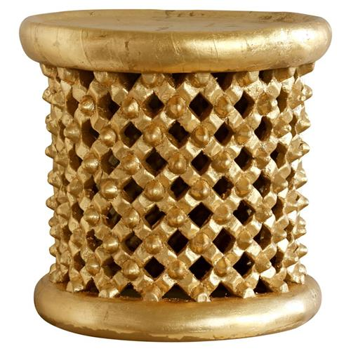 Iba Global Bazaar Antique Gold Stool Side Table | Kathy Kuo Home