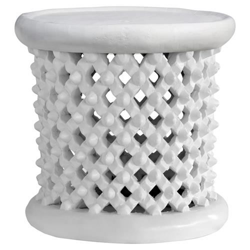 Iba Global Bazaar Antique White Stool Side Table | Kathy Kuo Home