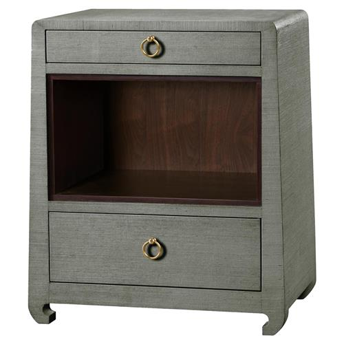 Bungalow 5 Ming Modern Classic Gold Green Grey Grass Cloth Nightstand | Kathy Kuo Home