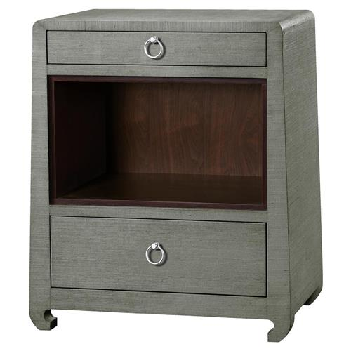 Galen Modern Classic Silver Green Grey Grass Cloth Nightstand | Kathy Kuo Home