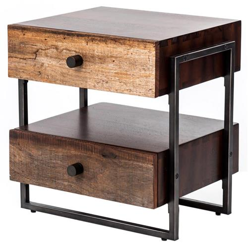 Alena Industrial Rustic Wood Steel Side Table | Kathy Kuo Home