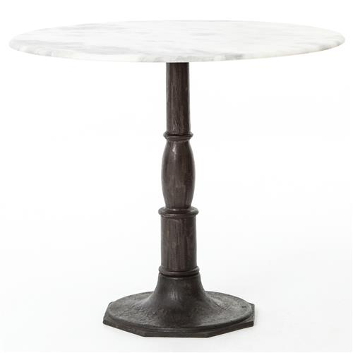 Alondra Classic Cast Iron Marble Round Dining Table | Kathy Kuo Home