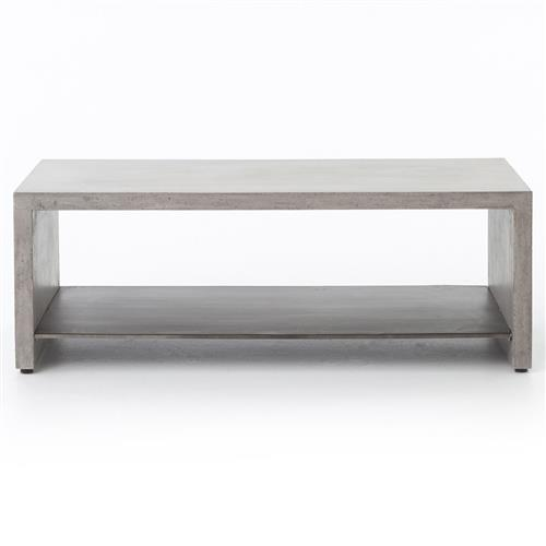Brayan Industrial Loft Grey Concrete Metal Shelf Coffee Table | Kathy Kuo Home