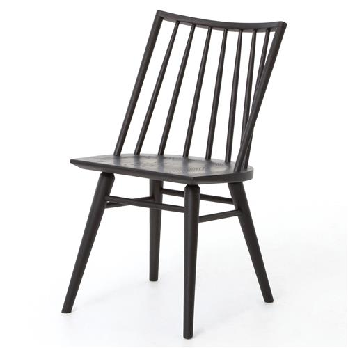 Lara Modern Classic Black Oak Simple Dining Chair - Pair | Kathy Kuo Home