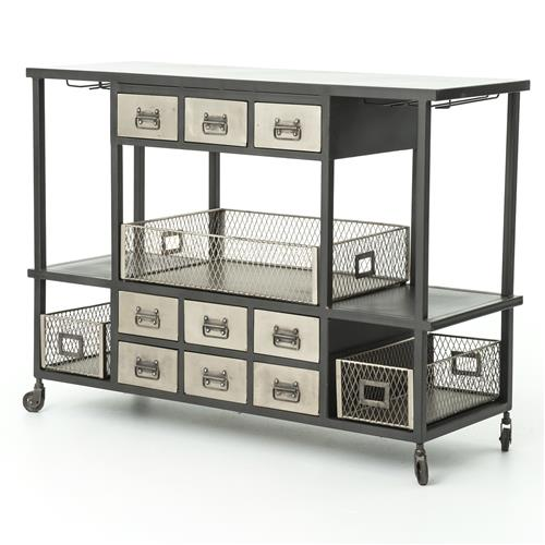 Maverick Industrial Loft Black Metal Antique Bar Cart | Kathy Kuo Home