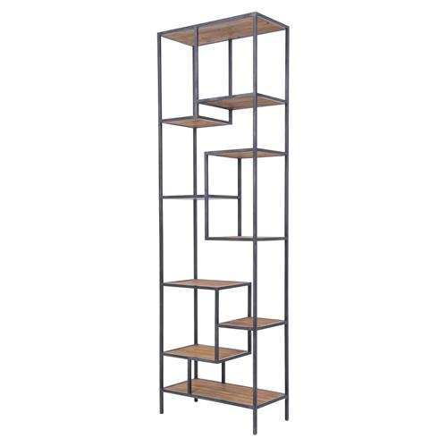 Arnaz Industrial Loft Iron Reclaimed Wood Staggered Shelf Etagere Bookcase | Kathy Kuo Home
