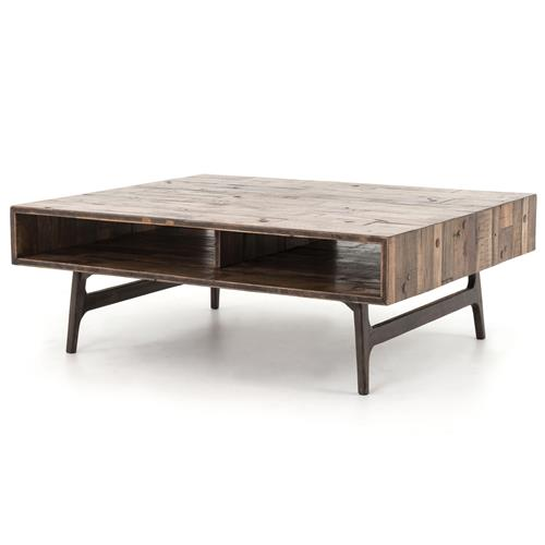 Lester Rustic Lodge Reclaimed Oak Rectangular Storage Coffee Table 41 W 50 W Kathy Kuo Home