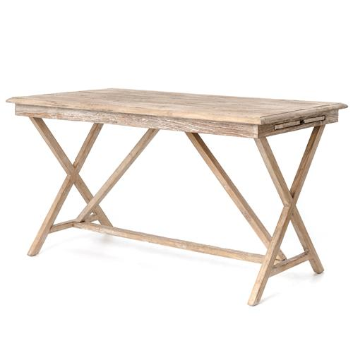 Cyril French Country Rustic White Wash Wood Desk | Kathy Kuo Home