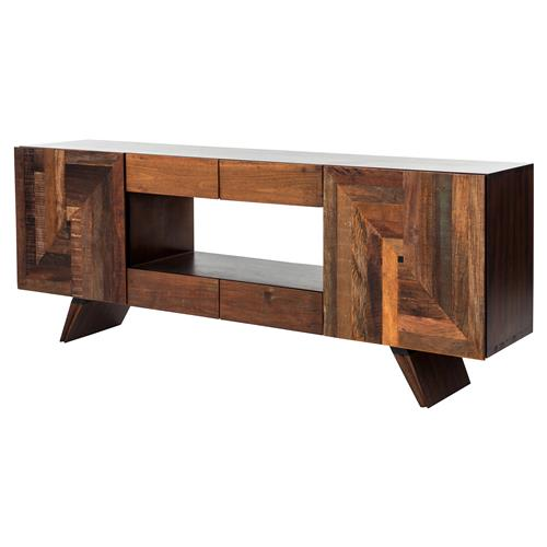Irving Rustic Lodge Mixed Wood Geometric Modern Media Cabinet | Kathy Kuo Home