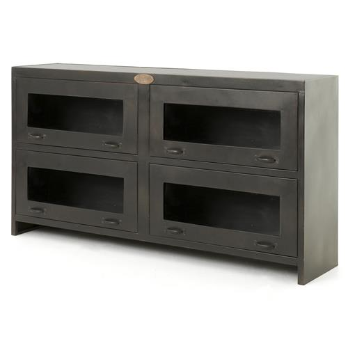 Fergie Industrial Antique Iron Shop Media Cabinet | Kathy Kuo Home