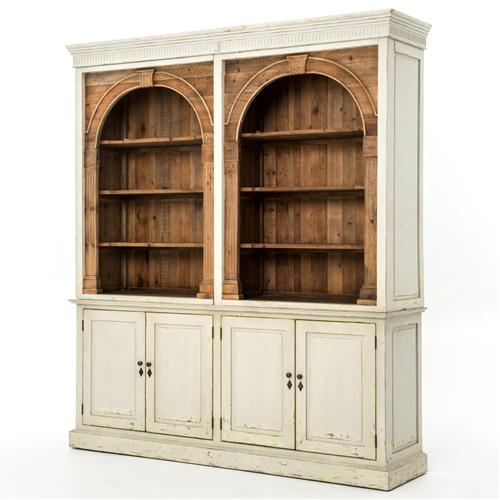 Laurine French Country Rustic Ivory Arch Wood Cabinet | Kathy Kuo Home