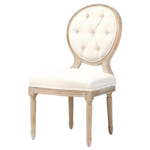 April French Country White Linen Wood Dining Chair