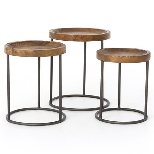 Loup Rustic Loft Reclaimed Iron Nesting Table - Set of 3 | Kathy Kuo Home