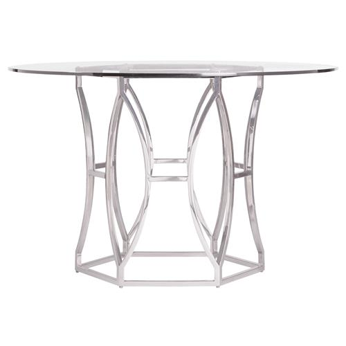 Marci Hollywood Regency Hexagon Polished Steel Round Dining Table | Kathy Kuo Home