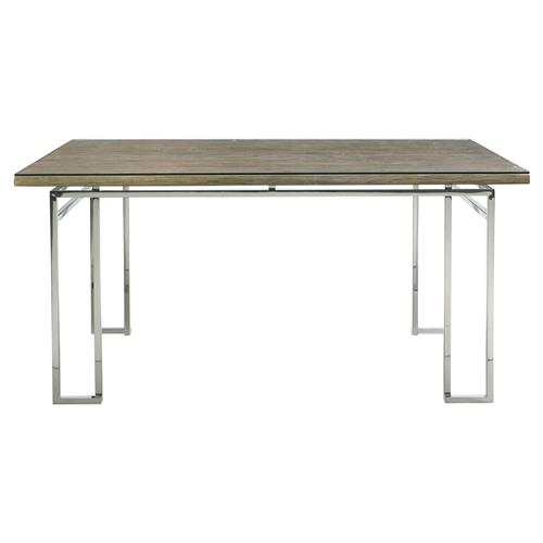 Rei Industrial Loft Stainless Steel Teak Rectangular Dining Table | Kathy Kuo Home