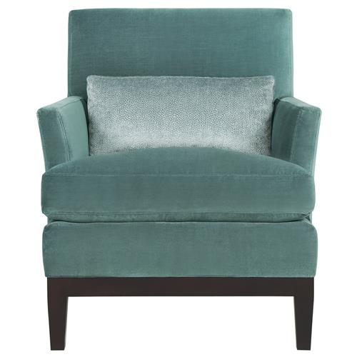 Eliza Modern Classic Mocha Wood Blue Velvet Arm Chair | Kathy Kuo Home